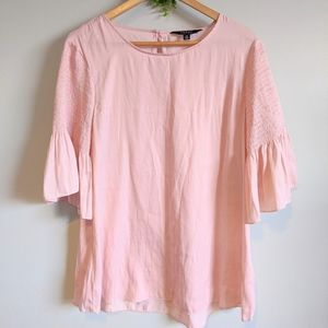 NWT IMNYC Soft Pink Blouse 3/4 Bell Sleeve Size L